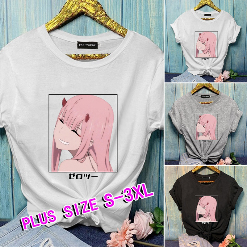 Darling In The Franxx Anime Printed Shirts Casual Short Sleeves Loose Graphic Tee Shirts Trendy Harajuku Unisex Shirts