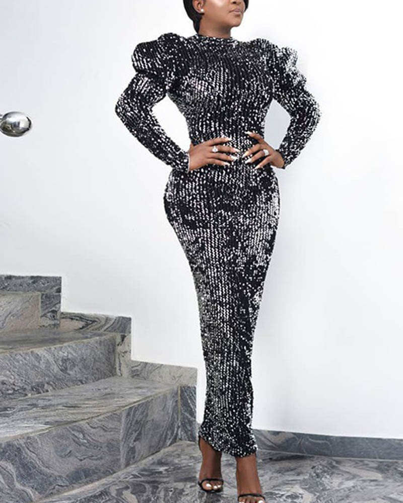 Sequined Bubble Long Sleeve Evening Dress