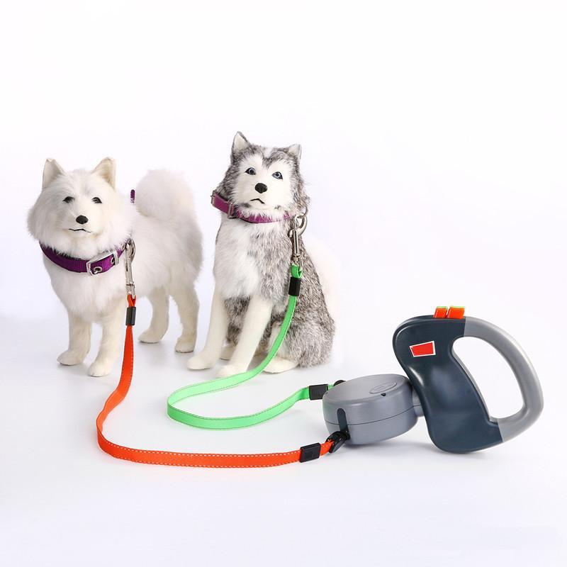 3m 50Lbs Non-Tangling Retractable Two Dog Leashes