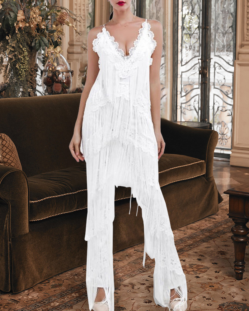 Fashion Fringe Sling Maxi Jumpsuit