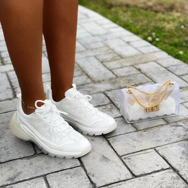 Zoeyootd Faux Patent Mesh Clear Overlay Sneakers