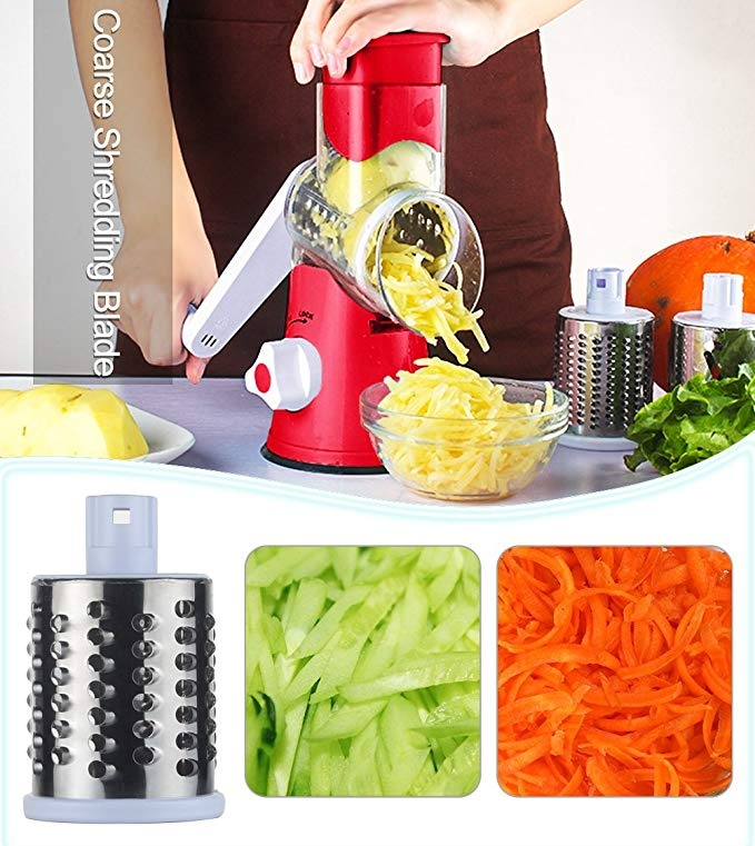 Manual Rotary Cheese Grater - Round Mandoline Slicer with Strong Suction Base, Vegetable Slicer Nuts Grinder Cheese Shredder (Rotary Grater )