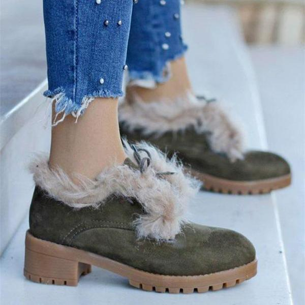 Bonnieshoes Lace-Up Fur Lined Winter Ankle Boots