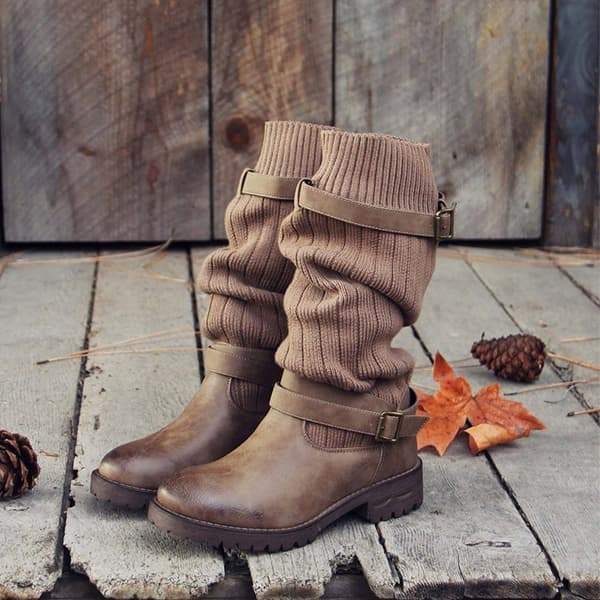 Zoeyootd Cabin Sweater Paneled Boots