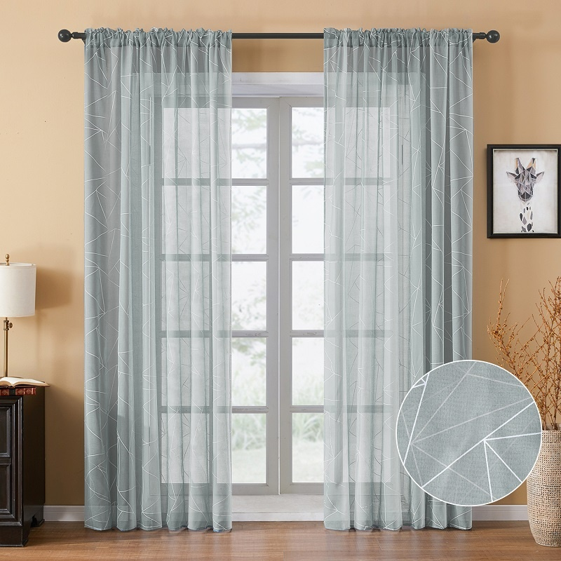 Geometric Pinstriped Tulle Window Curtains for Livingroom Voile Sheer Curtain Panel Door Divider Drapes
