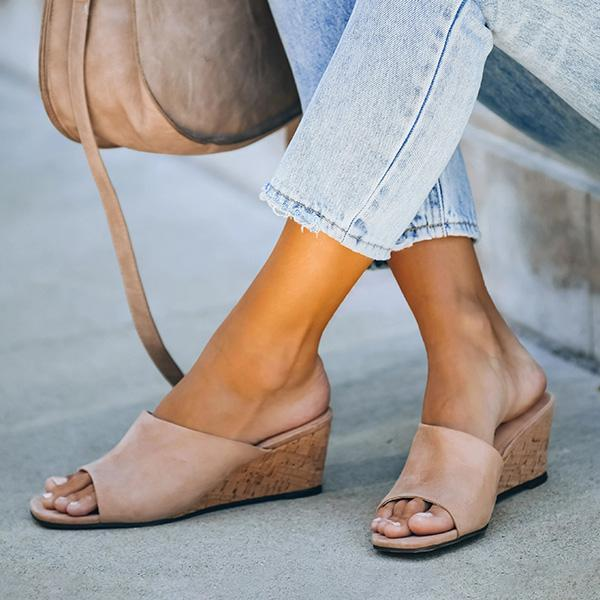 Zoeyootd Suede Square Head Wedge Sandals