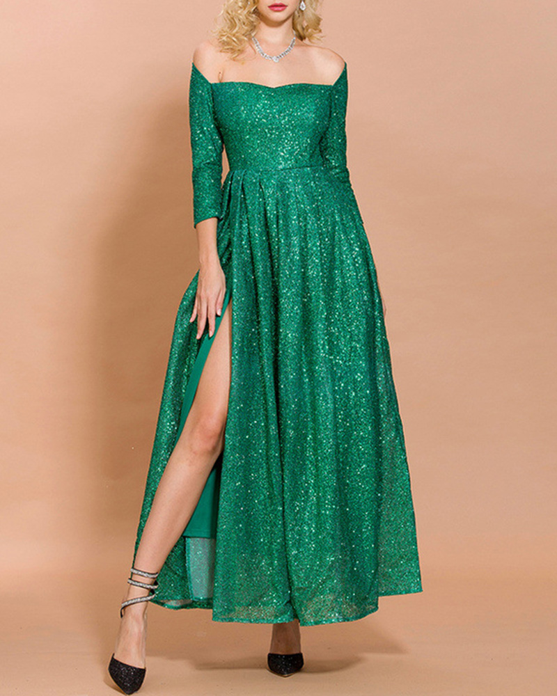 Off-The-Shoulder Sequined Maxi Evening Dress