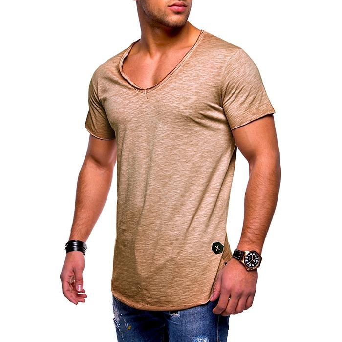 Cotton Solid Color V-Neck Breathable Men's T-shirt