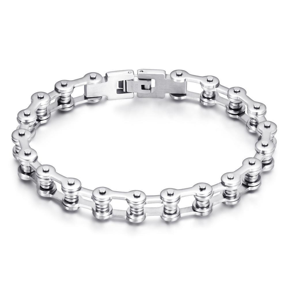 Stealth Silver Bike Chain Bracelet 10mm