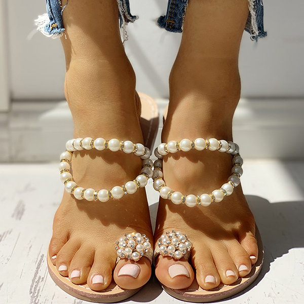 Bonnieshoes Beaded Design Toe Ring Casual Slippers