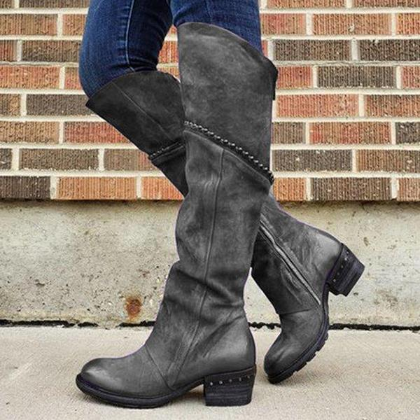 Bonnieshoes Round Toe Pull-On Mid Heel Boots