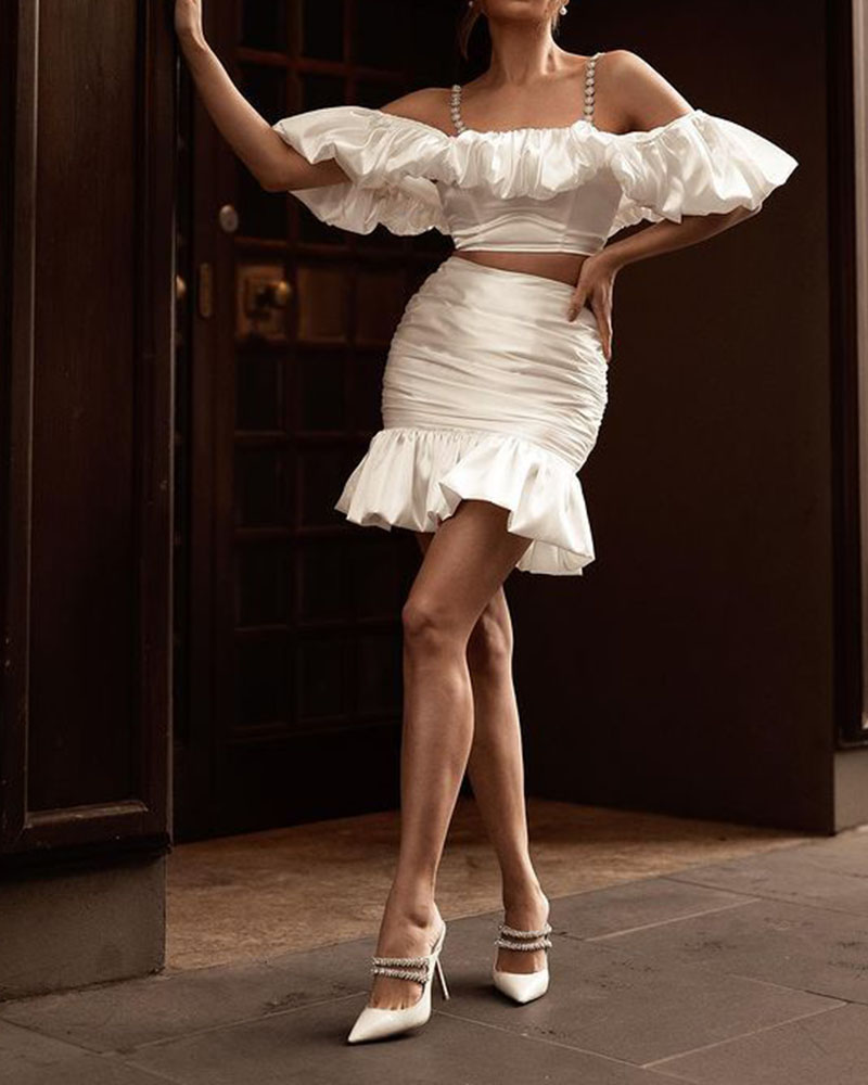 Fashion White Temperament Casual Skirt Two-piece Suit