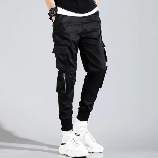 Men Ribbons Color Block Black Pocket Cargo Pants 2020 Harem Joggers Harajuku Sweatpant Hip Hop Trousers