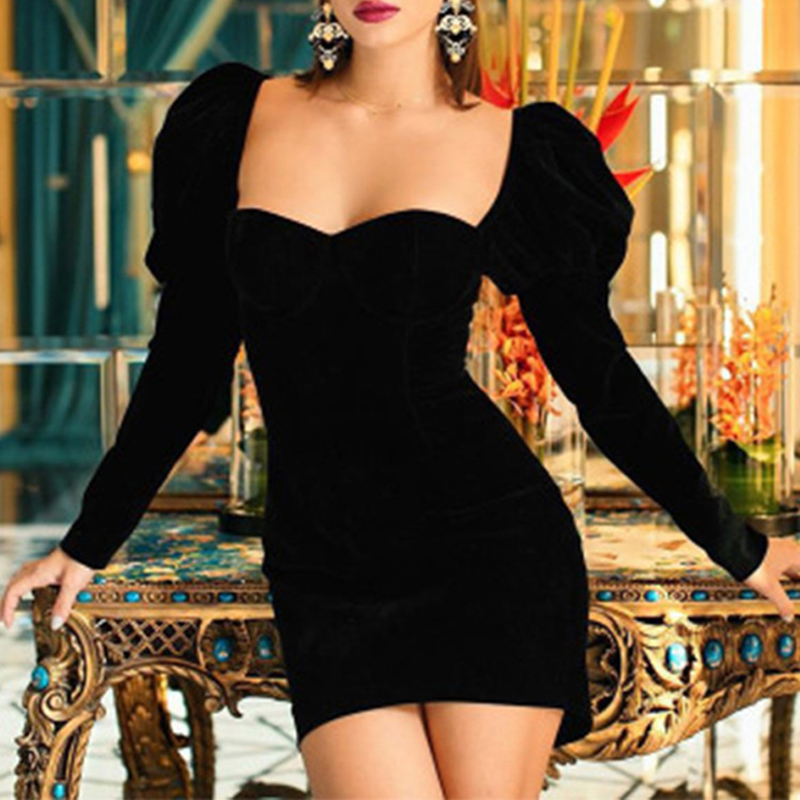 Solid Color Sexy Wrap Chest Square Neck Long Sleeve Dress