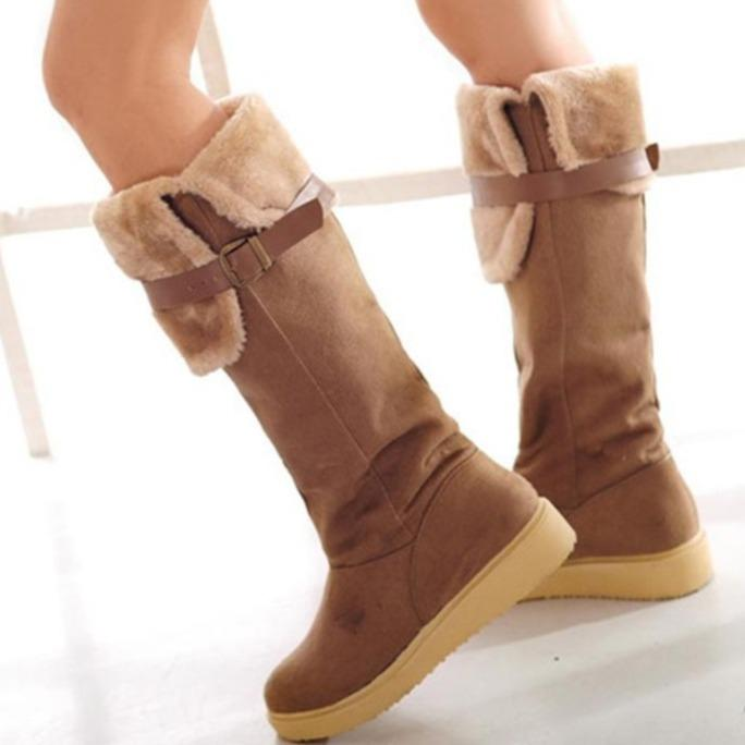 Over The Knee Buckle Strap Turn Down Thick Lining Faux Fur Women Snow Boots