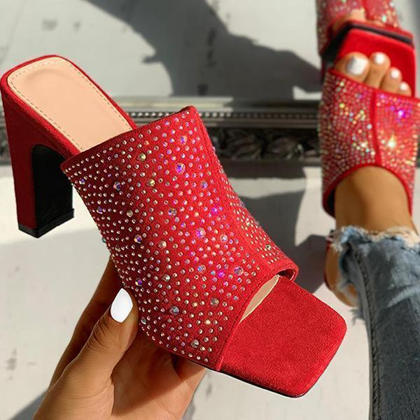Zoeyootd Glitter Hot Stamping Open Toe Slingback Chunky Heeled Sandals