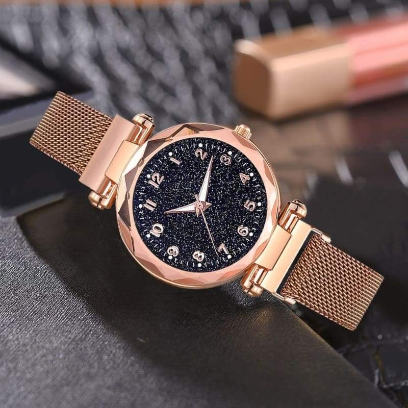 Hot Sell Fashion Women Watches Mesh Magnet Buckle Starry Sky Watch Luxury Ladies Geometric Surface Quartz Watch Gifts
