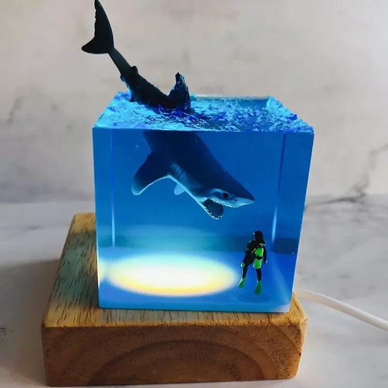Led Night Light - Handmade Shark Diver Decoration