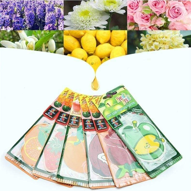 5/10pcs Random Fruit Rose Maple Leaf Scented Paper Car Air Freshener Perfume Pendant Lasting for 30~50 Days