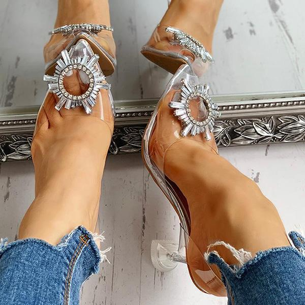 Mokoshoes Studded Pointed Toe Transparent Thin Heels
