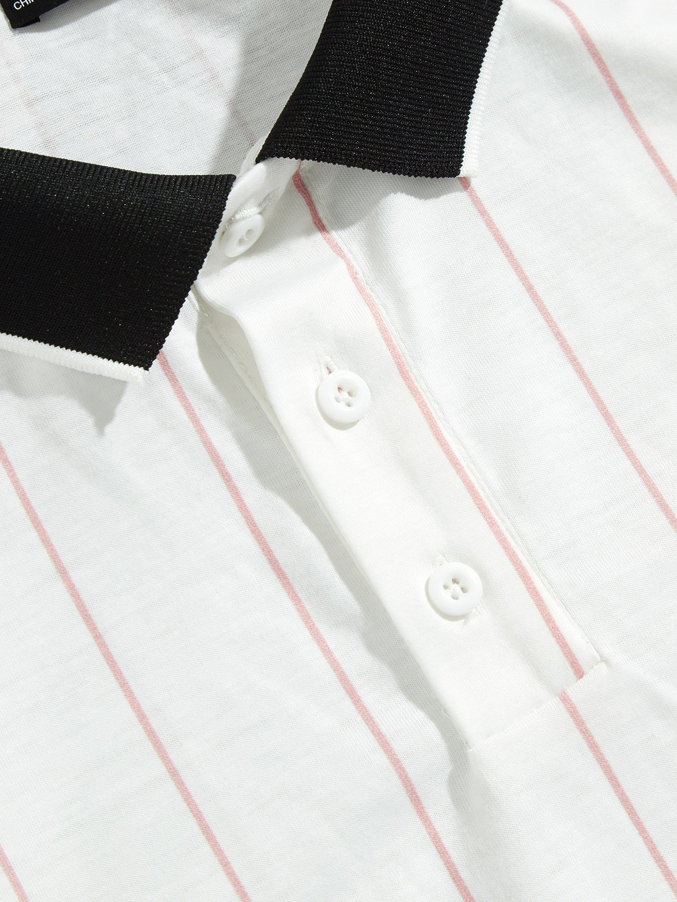Men Letter Patched Vertical Striped Two-tone Polo Shirt