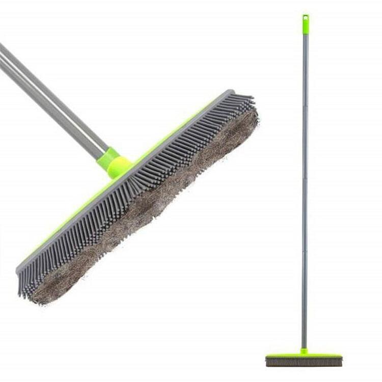 Multi-function Long Handle Natural Rubber Broom with Squeegee