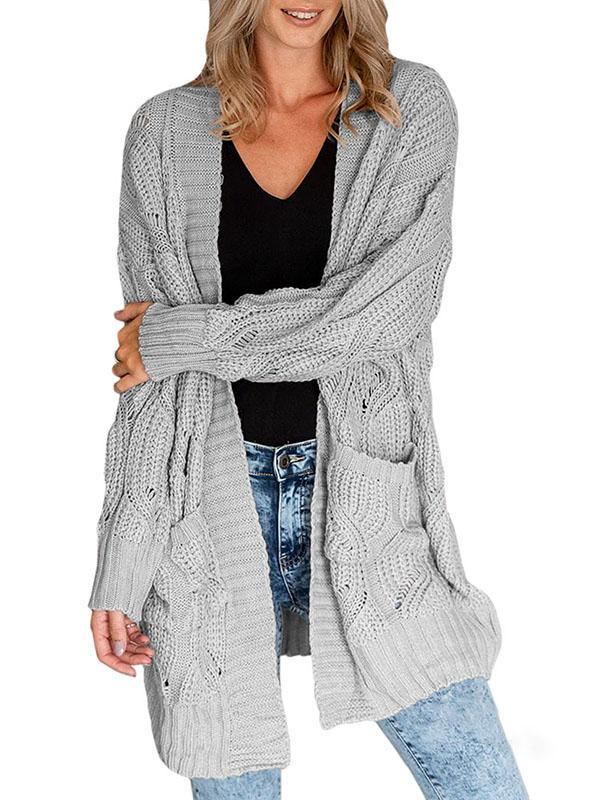 Bonnieshoes Coarse Cotton Linen Hollow Casual Sweater Cardigan
