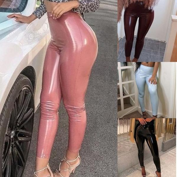 Women's Stretchy Faux Leather Leggings Pants