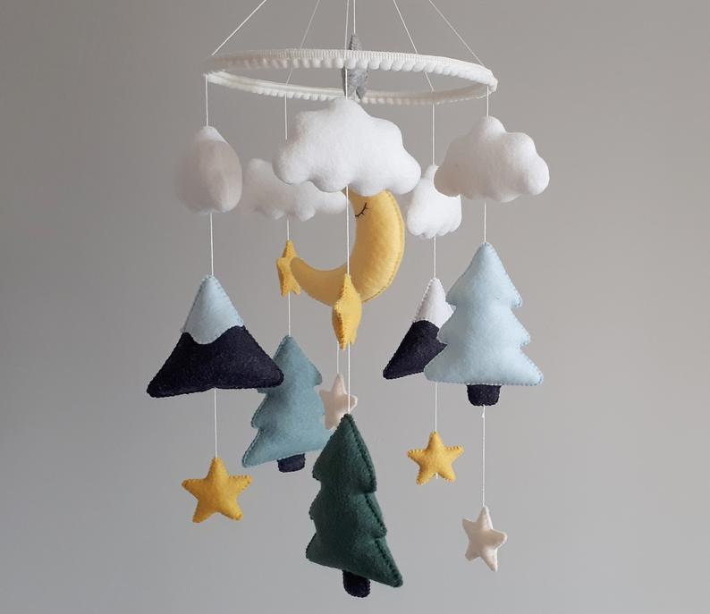 Moon, fir trees and stars cot mobile, Mountains nursery decor, Modern mobile, Scandi nursery decor, Neutral mobile, Baby shower gift