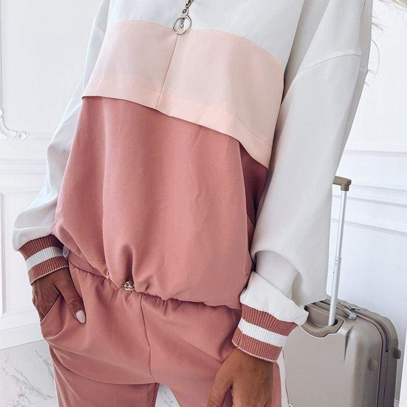 2019 Autumn Winter Hooded Casual Women Sports Suit Two-piece