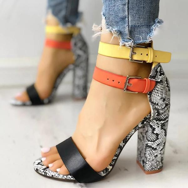 Mokoshoes Contrast Color Snakeskin Buckled Chunky Heeled Sandals