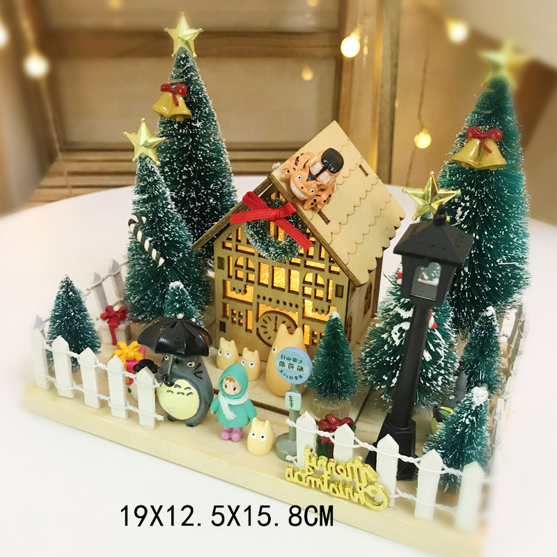 Creative micro-decoration DIY wooden house Christmas decoration birthday gift
