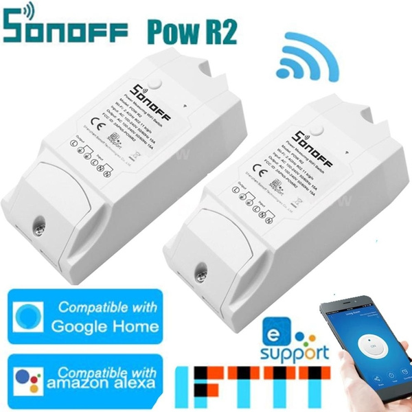 SONOFF WiFi Intelligent Switch Pow R2 ITEAD With Electricity Detection Statistics Current And Voltage Display Overload Protection Support Google-Home/Nest & Amazon-Alexa Voice Control