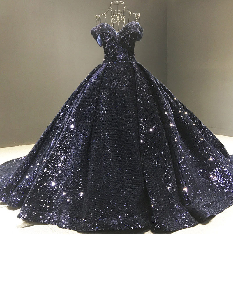 Fashion Strapless Sequin Maxi Solid Color Wedding Evening Dress