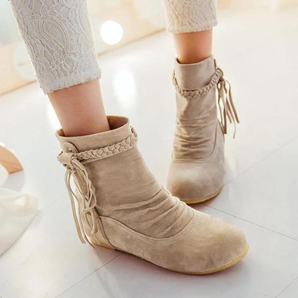Mokoshoes Autumn And Winter Fringed Scrub Boots