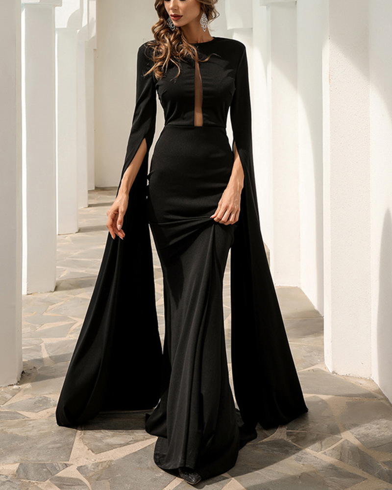Flared Sleeve Solid Color Mopping Evening Dress