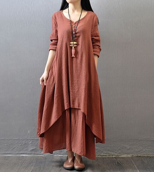 2020 spring summer summer newest long dress Literary large swing linen dress Loose Casual long-sleeved cotton and linen skirt Women loose Over Size long sleeve cotton dress pure color dress