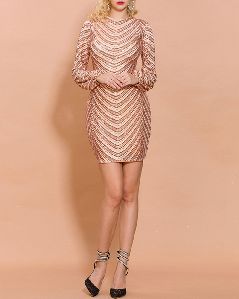 Fashion Sequined Puff Sleeves Evening Dress