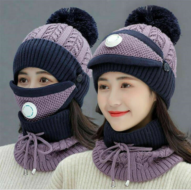 3pcs Women Beanie Hat Pom Bobble Scarf Mask Set Knitted Winter Warm Snow Ski Cap
