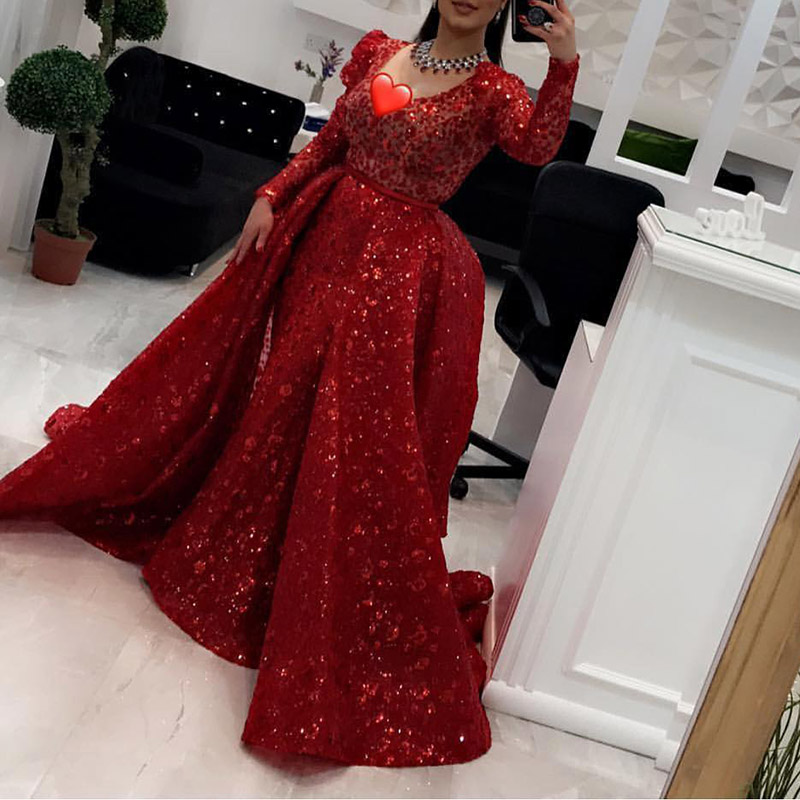 Long Sleeve Sequin Slim Sexy Evening Dress