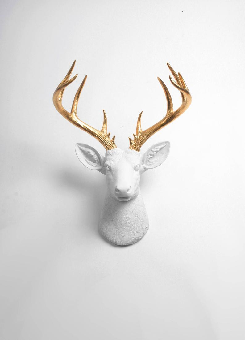 Deer Head Wall Mount Decor - The XL Alfred - White and Gold Deer Decor Wall Hanging