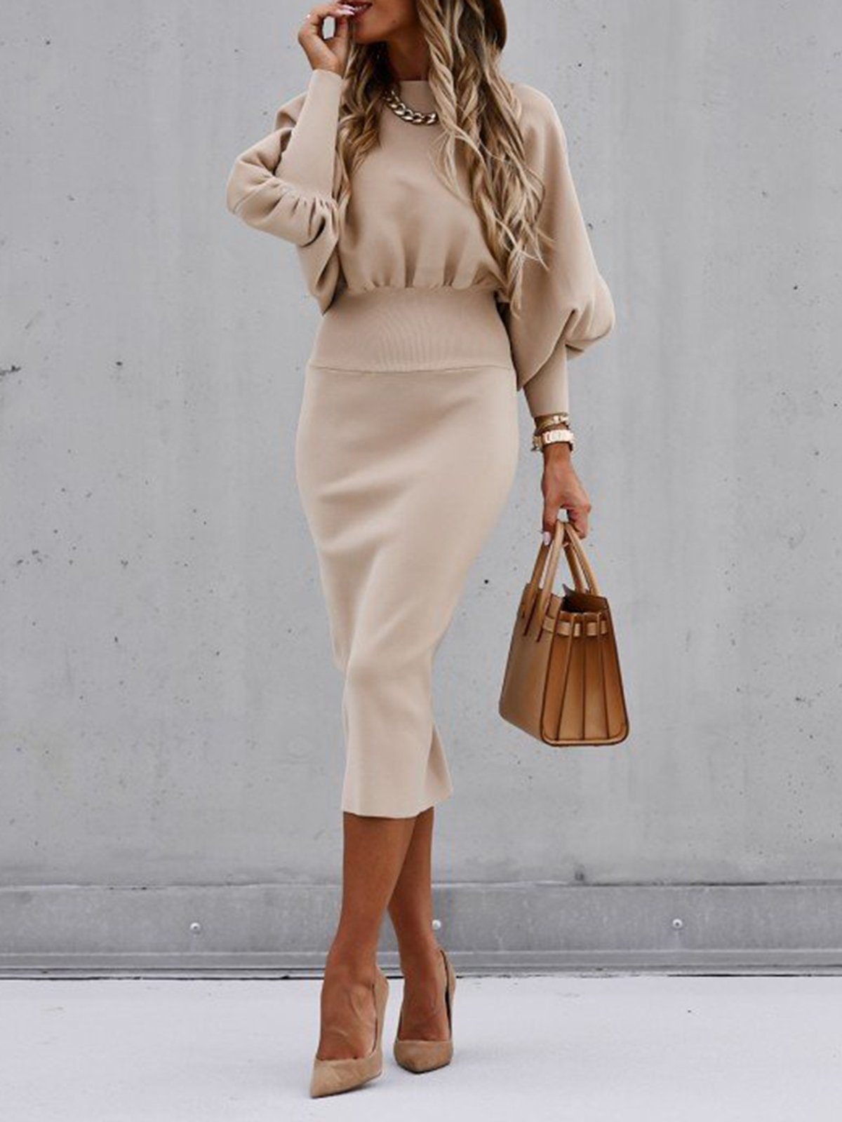 Women's sexy tight high neck long sleeve dress