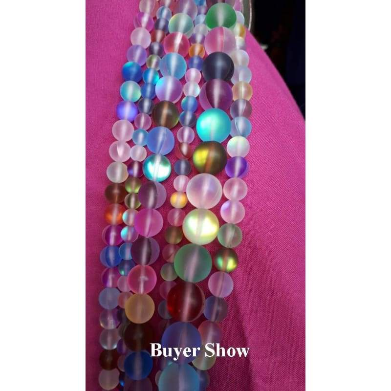 Flash Matte Shining Shimmer Round Matte Fiery Shining Glistening Mystic Aura Quartz Moonstone Crystal Loose Strand Beads for DIY Jewelry Making Accessories 6/8/10/12mm
