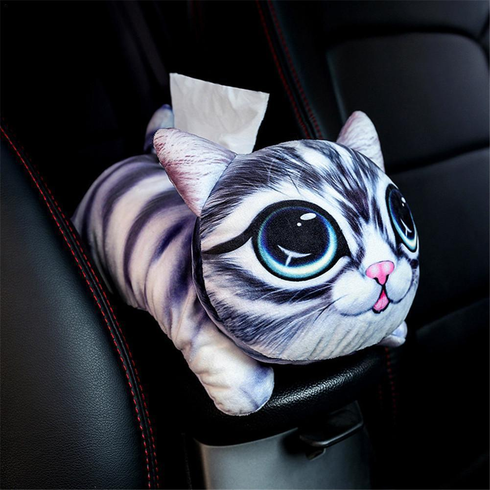 Cartoon Animal Car Armrest Box Tissue Paper Container Plush Doll Decor Holder
