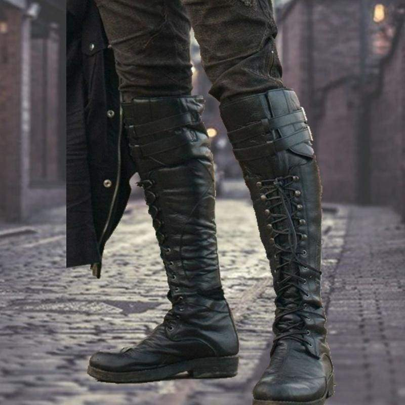 Men's Vintage Knee High Boots Cross Strap Lace Up Shoes Flat Cool Moto Boots Fall Winter Tall Renaissance Style Boots
