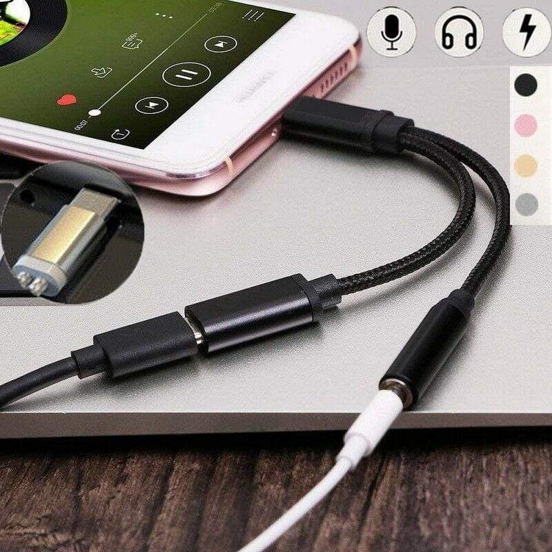 2 in 1 USB Type C To 3.5mm Aux Audio Headphone Splitter Charging Cable Adapter