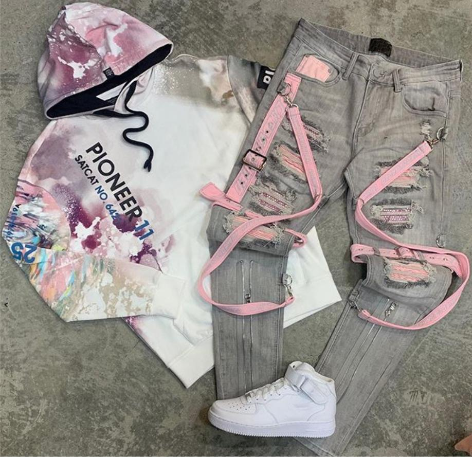 Tie-dye hooded top with jeans