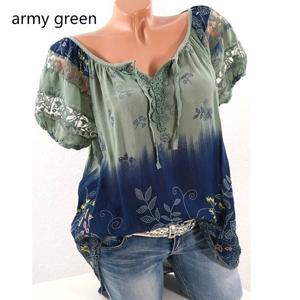 2020 New Women Summer Casual Floral Printed Tops Short Sleeve Shirts Blouses Plus Size XS-5XL