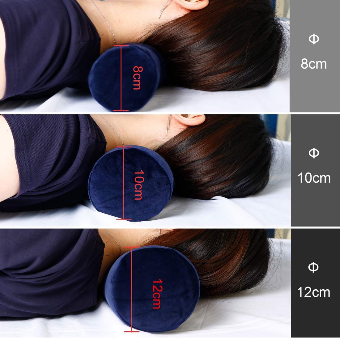 4 Color Round Memory Foam Pillow Cervical Roll Bolster Neck Head Support Pillow with Washable Cover