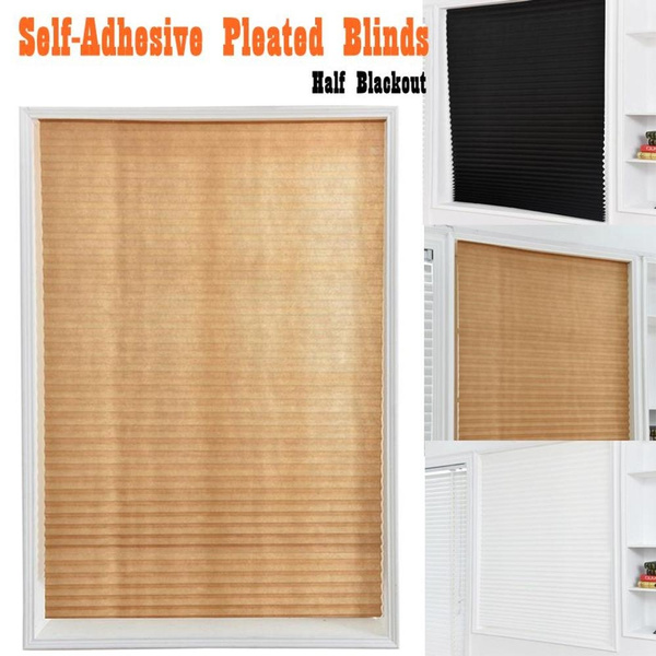 Self-Adhesive Pleated Blinds Half Blackout Bathroom Windows Curtains Shades